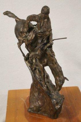 Native American Horseman Bronze Sculputre