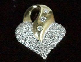 """14kt"" Yellow Gold Diamond Heart-shaped Pendant"