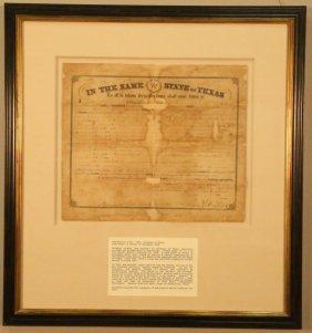 Official Sam Houston Signed Document Feb. 10, 1860