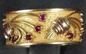"""14kt"" Yellow And Rose Gold Ruby Ring"