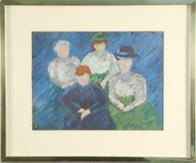 "Charlotte Busse ""four Women"" Pastel"
