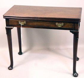 Queen Anne Style Mahogany Flip Top Table