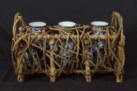 Three Blue & White Asian Vases In Woven Cradle