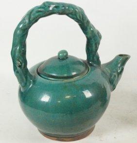 Asian Green Glazed Ceramic Pitcher