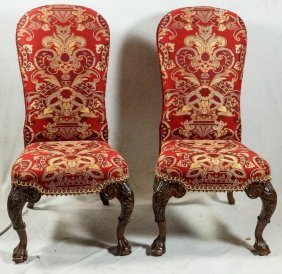 Pair Of High Back Mahogany Georgian Style Side Chairs