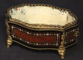 Antique Inlaid Burled Centerpiece Compote