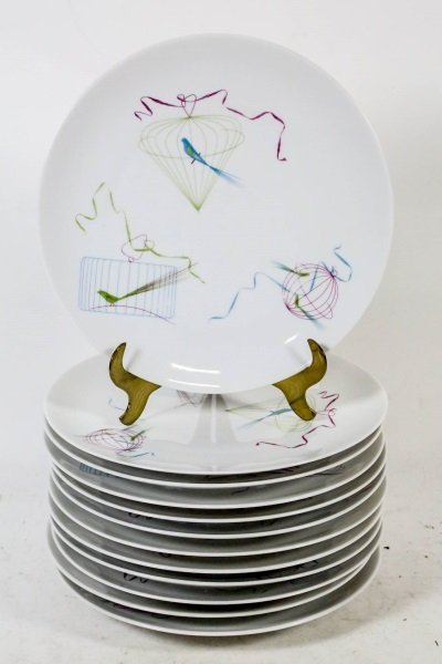 """SET OF 12 CONTINENAL CHINA """"BIRD CAGE"""" PLATES"""