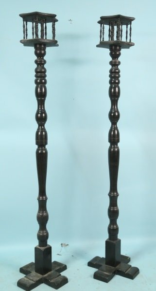 PAIR OF 18th CENTURY SPANISH TURNED OAK TORCHIERES