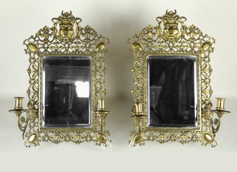 PAIR 19th CENTURY FRENCH BRONZE MIRRORED SCONCES