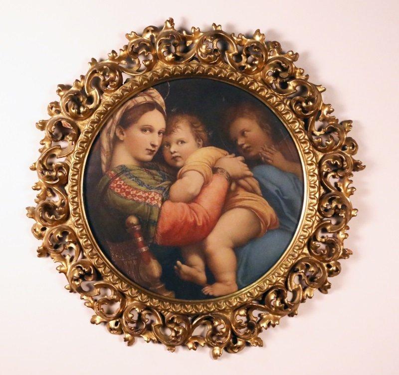 ANTIQUE MADONNA & CHILD PRINT IN ANTIQUE ITALIAN FRAME