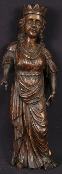 19th CENTURY WOOD CARVED CROWNED SAINT