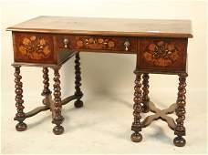 CIRCA 1880s MAHOGANY THREE DRAWER WRITING TABLE