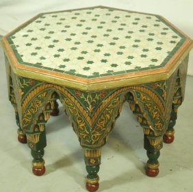 Moroccan Carved, Painted Tiled Top Coffee Table