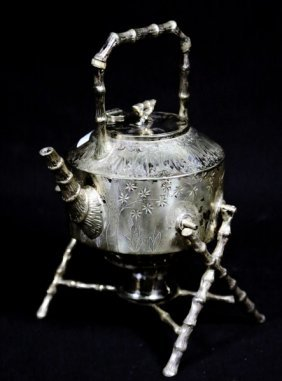Victorian Silverplated Teapot On Stand With Burner