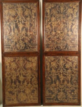 Pair Of Maitland-smith Brass Inlaid Wall Panels