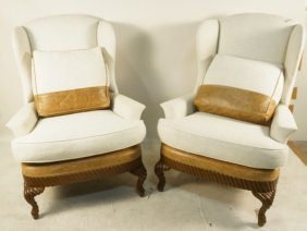 Pair Of Canvas & Leather Upholstered Wing Chairs