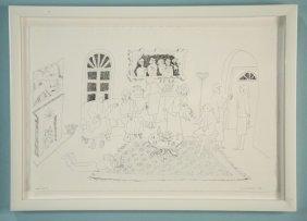 "Gail Siptak ""ladies Night In"" Original Ink Drawing"