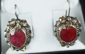 Natural Ruby Mounted On Sterling Silver Earrings