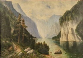 19th Century American School Mountain Landscape Oil