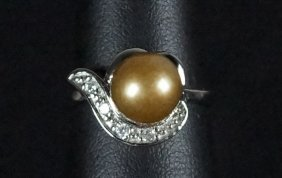 Tahitian Copper Pearl & White Sapphire Accent Ring