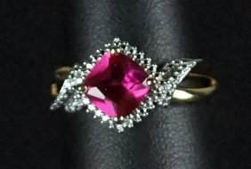 Ruby & White Sapphire Sterling Cocktail Ring