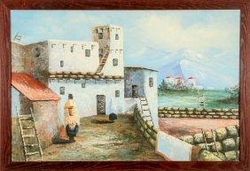 Village Scene Oil On Canvas Painting