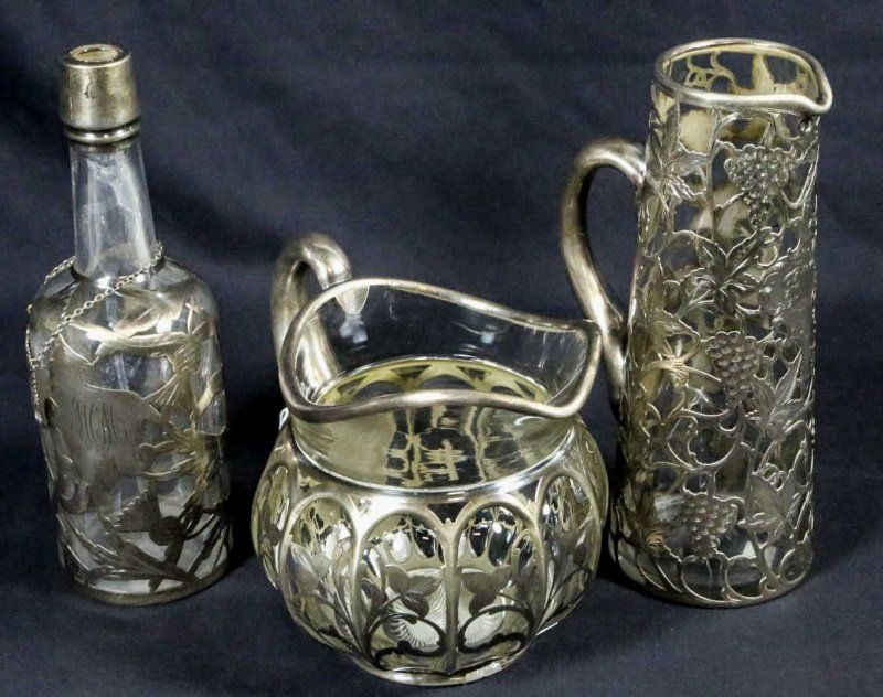 THREE VINTAGE STERLING SILVER OVER GLASS PIECES