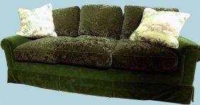 Custom Made Cut Green Velvet Mohair Sofa