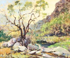 "Harry Emerson Lewis ""desert Willow"" Oil On Panel"