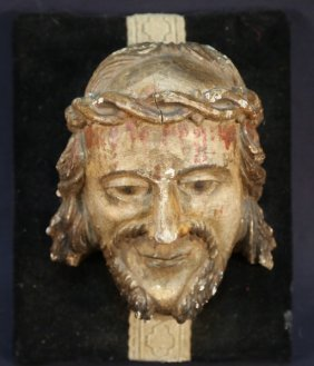 19th Century Wood Carved Head Of Christ