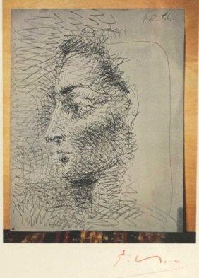 """Pablo Picasso """"tete De Femme"""" Signed Print"""