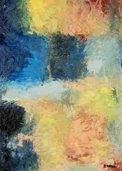 """P. WAUGH """"ABSTRACT"""" OIL ON PANEL PAINTING"""