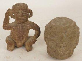 Lot Two Pre-columbian Costa Rican Lavastone Figure