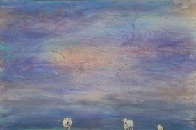 """Lacey Crawford """"sky Cows"""" Acrylic On Canvas"""