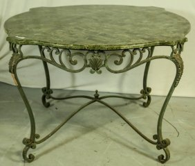 Green Marble Top Table With Iron Base