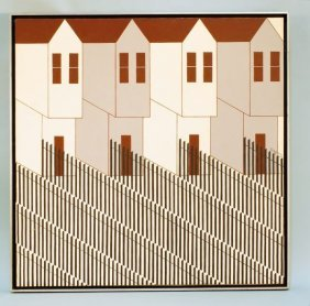 """Ken Perry """"houses"""" Acrylic On Canvas"""