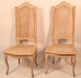 Pair Of French Cane Highback Side Chairs