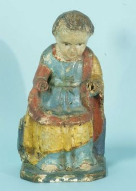 19th Century Mexican Carved & Polychrome Santo
