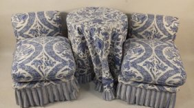 Pair Of Blue & White Slipper Chairs With Table