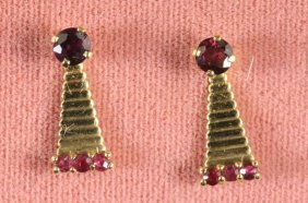 14kt Gold Pair Of Burmese Red Rubies & Jackets
