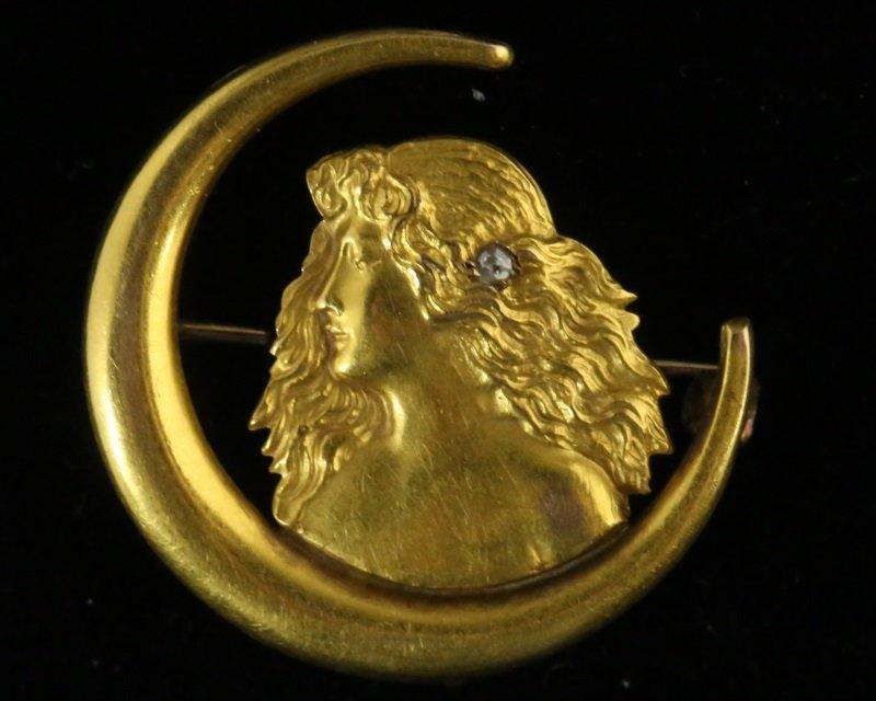 14KT GOLD & DIAMOND  ANTIQUE ART NOUVEAU PIN