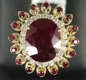 14kt Gold 14.94ct Ruby & 0.85ct Diamond Ring