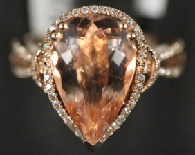 14kt Gold 5.80ct Morganite & 0.34ct Diamond Ring