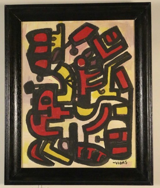 ATTRIBUTED TO OSWALDO VIGAS ACRYLIC ON CANVAS