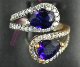 Estate Blue & White Sapphire Clamp Ring