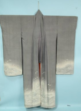 Grey & White Silk Kimono With Herons And Waves