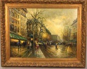 """Albert """"parisian Scene"""" Oil On Canvas Painting"""
