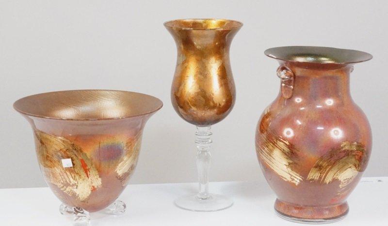 LOT OF THREE IRIDESCENT ART GLASS PIECES