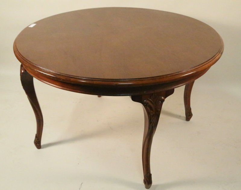 ANTIQUE CARVED MAHOGANY ROUND TABLE