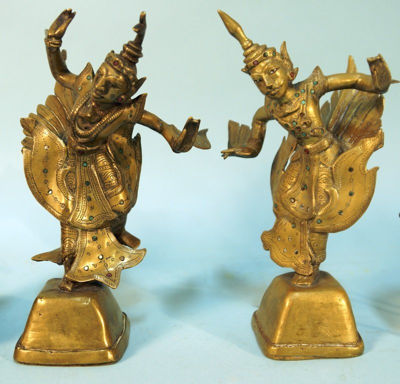 PAIR OF BRASS CHINESE FIGURES